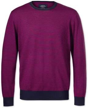 Charles Tyrwhitt Navy Merino Crew Neck Wool Sweater Size Large