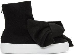 Joshua Sanders Black Felt Bow Sneakers