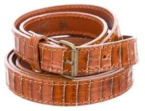 Dries Van Noten Embossed Skinny Belt w/ Tags