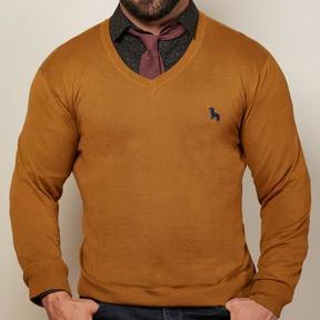 Blade + Blue Camel Cotton V-Neck Sweater