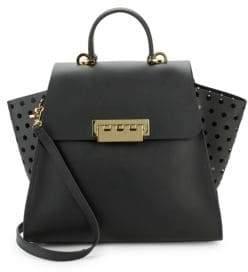 Zac Posen Eartha Floral Cut-Out Leather Shoulder Bag