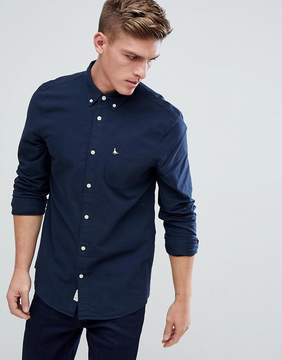 Jack Wills Wadsworth Regular Fit Brushed Oxford Shirt In Navy