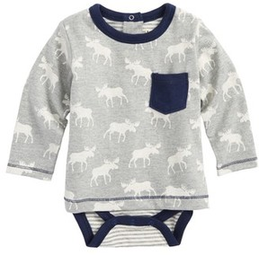 Hatley Infant Boy's Moose Print T-Shirt With Bodysuit