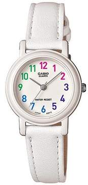 Casio Women's Stainless Steel Analog Watch, White Leather Strap