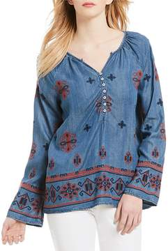 Chelsea & Theodore Embroidered Bell Sleeve Tencel Top