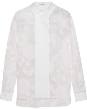 Carven Flocked Organza And Cotton-blend Poplin Shirt - White