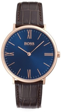 BOSS Men's Slim Jackson Leather Strap Watch, 40Mm