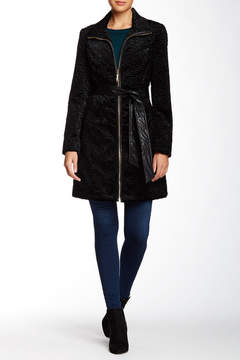 Ellen Tracy Belted Faux Fur Persian Jacket