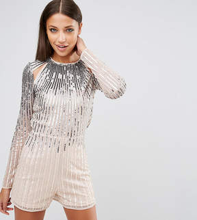 Asos Tall TALL NIGHT Ombre Sequin Romper With Cut Outs