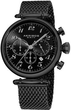 Akribos XXIV Akribos Chronograph Black Dial Black PVD Mesh Steel Men's Watch