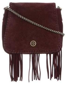 Tory Burch Suede Fringe-Trimmed Bag - BURGUNDY - STYLE