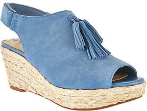 Isaac Mizrahi Live! Suede Wedge Sandals withTassel
