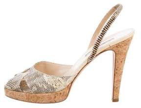 Oscar de la Renta Lizard Platform Sandals