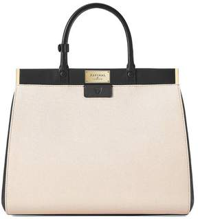 Aspinal of London Large Florence Snap Bag In Monochrome Saffiano