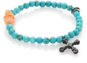 King Baby Studio Men's Turquoise Bead & Conch Shell Skull Bracelet