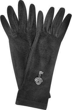 Forzieri Rhinestone Black Gloves