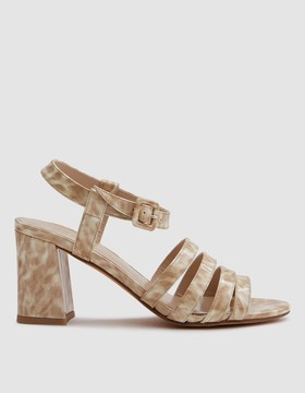 Maryam Nassir Zadeh Palma High Sandal in Patent Blonde Tortoise