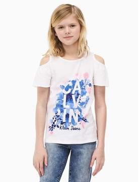 Calvin Klein girls floral flutter sleeve t-shirt