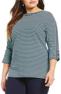 Allison Daley Plus 3/4 Sleeve Striped Knit Top