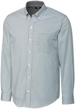 Cutter & Buck Blue & White Easton Plaid Non-Iron Button-Up - Men