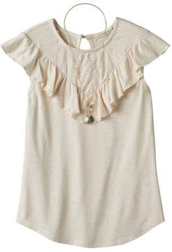 Self Esteem Girls Plus Size Crochet Lace Flounce Overlay Top with Necklace