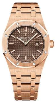 Audemars Piguet Royal Oak Brown Dial Ladies 18 Carat Pink Gold Watch