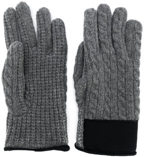 Moncler cable knit logo gloves