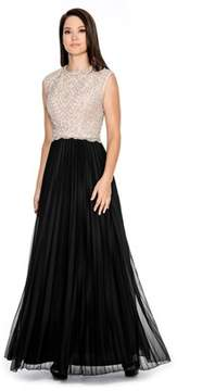 Cachet Caviar Beaded Bodice Over Nude Lining With Soft Pleated Long Skirt..