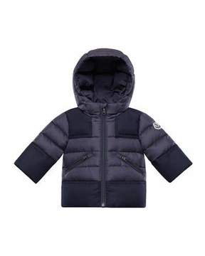Moncler Hector Quilted Coat w/ Wool Trim, Size 12M-3T