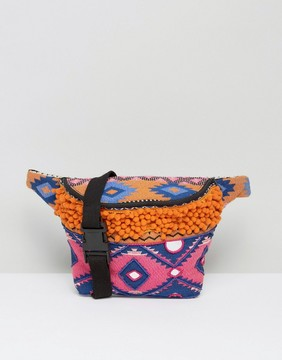 Park Lane Embroidered Festival Fanny Pack With Pom Pom