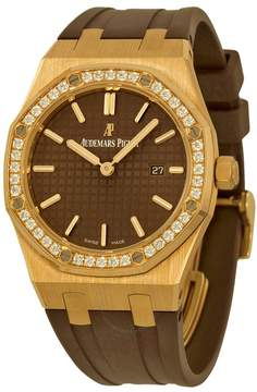 Audemars Piguet Royal Oak Diamond Brown Dial 18 kt Rose Gold Ladies Watch