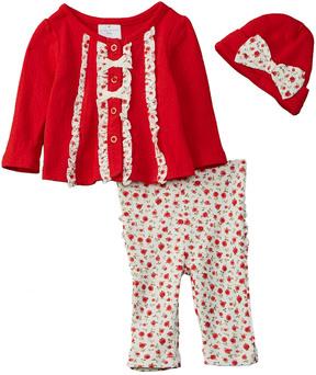 Laura Ashley Girls' 3Pc Cardigan And Pant Set
