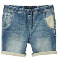 MANGO Elastic waist denim bermuda shorts