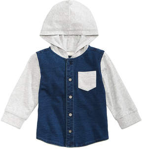 First Impressions Layered-Look Hooded Denim Shirt, Baby Boys (0-24 months), Created for Macy's
