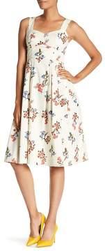 Donna Morgan Sleeveless Floral Print Poplin Dress