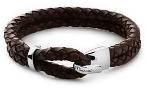Miansai Beacon Brown Leather Bracelet in Sterling Silver