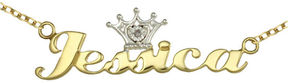 JCPenney FINE JEWELRY Disney Personalized Girls Diamond Accent Tiara Name Necklace