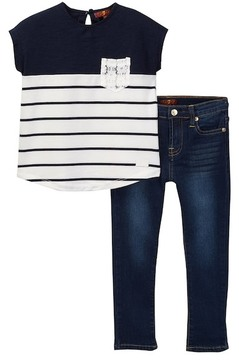 7 For All Mankind Color Blocked Tee & Jean Set (Toddler Girls)