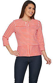 C. Wonder As Is Mixed Stripe Zip Front 3/4 Slv. Knit Jacket
