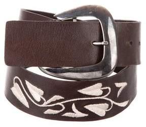 Giorgio Armani Leather Embroidered Belt