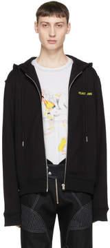 Helmut Lang Black Basic Logo Zip Hoodie