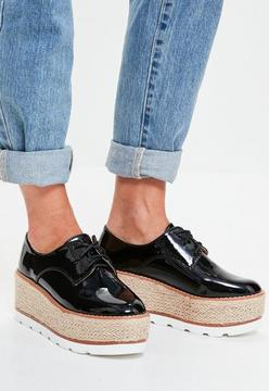 Missguided Black Platform Lace Up Brogues