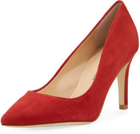 Neiman Marcus Cissy Suede Pointed Pump, Red