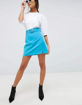 Asos DESIGN tailored mini with belt and front split