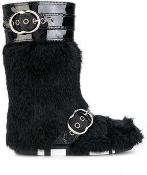 Miu Miu faux fur buckled boots