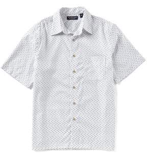 Roundtree & Yorke Big and Tall Short-Sleeve Geo Print Polynosic Camp Shirt