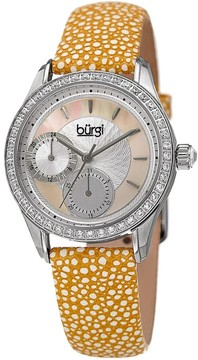 Burgi Mother Of Pearl Dial Ladies Polka Dot Leather Watch