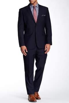 English Laundry Navy Sharkskin Two Button Peak Lapel Suit