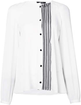 Derek Lam Collarless Button-Down Blouse With Lace Placket