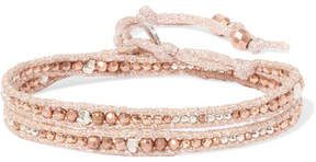 Chan Luu Gold And Silver-tone Beaded Wrap Bracelet - Rose gold